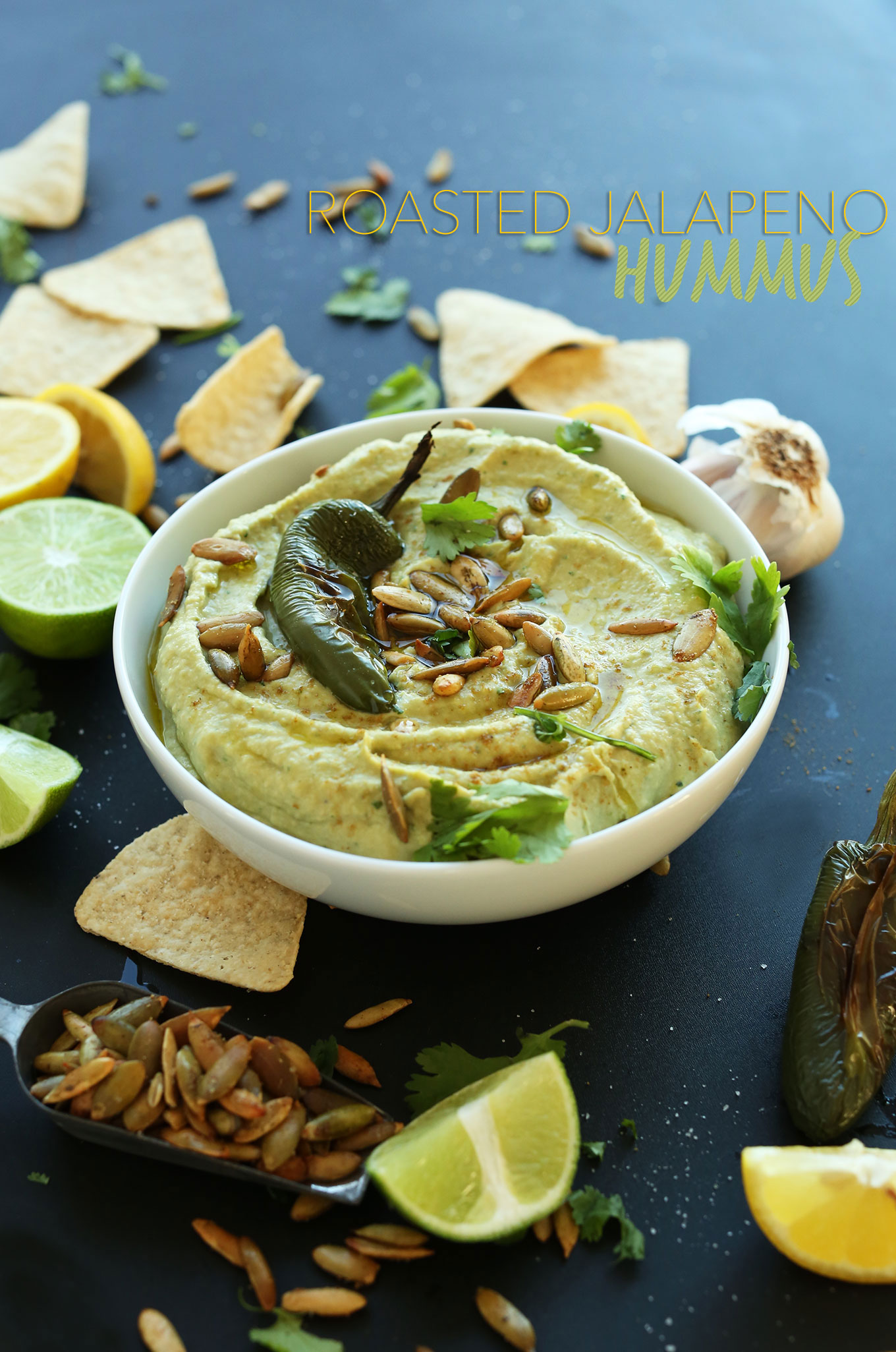 Big bowl of our quick and easy Roasted Jalapeno Hummus recipe