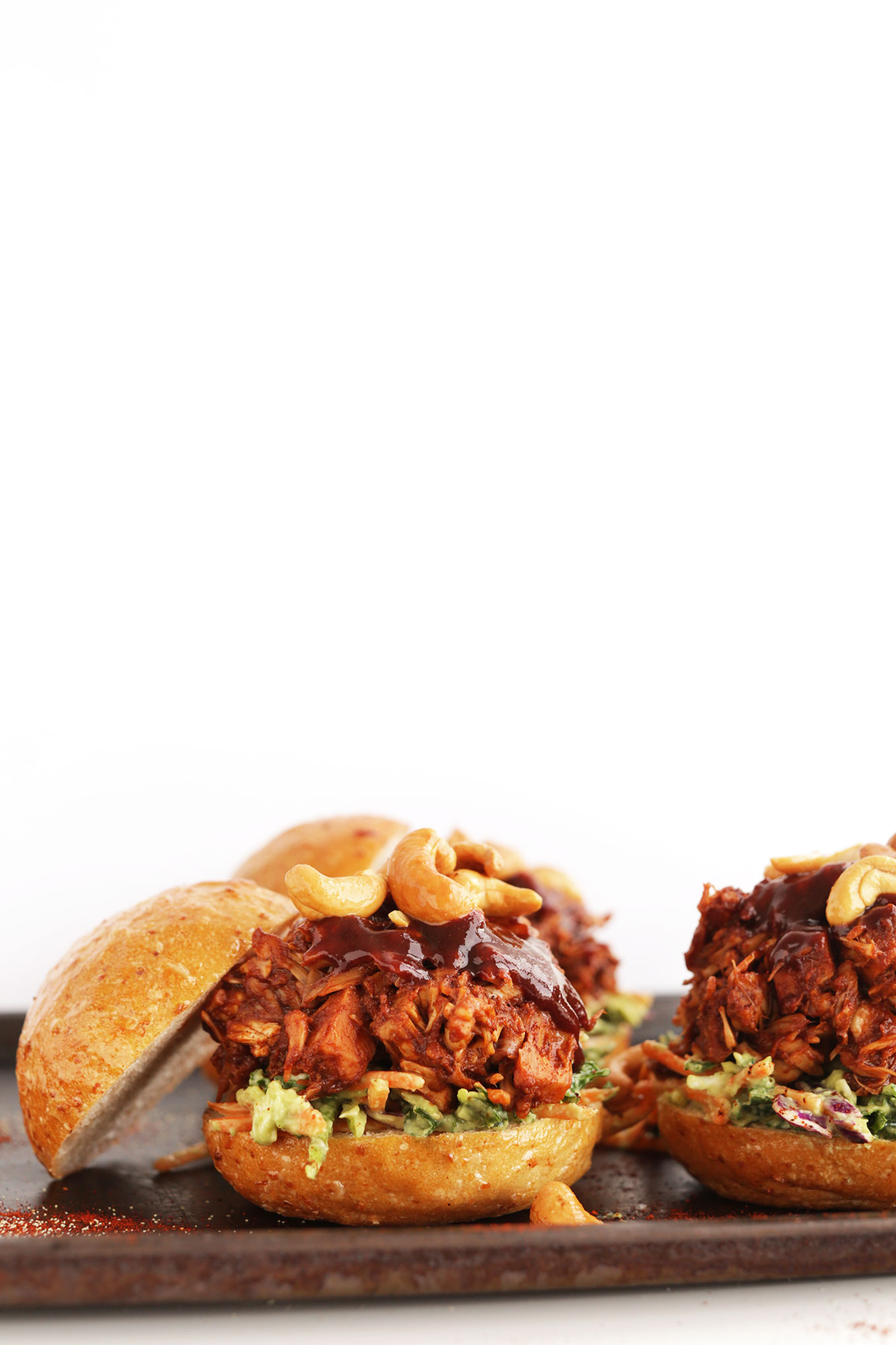 BBQ Jackfruit Sandwiches with Avocado Slaw for a gluten-free vegan dinner