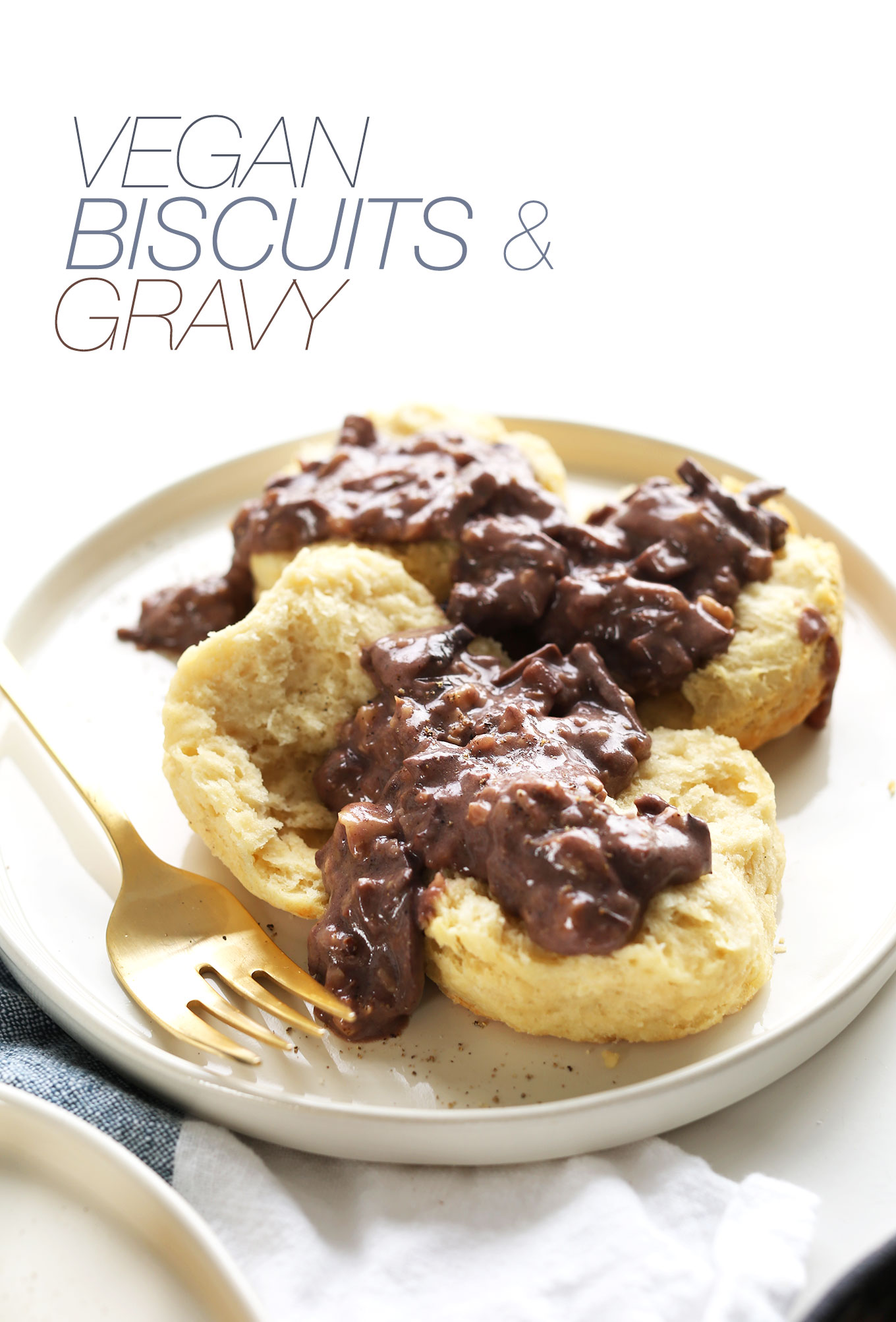 Plate of vegan biscuits and peppery mushroom walnut gravy