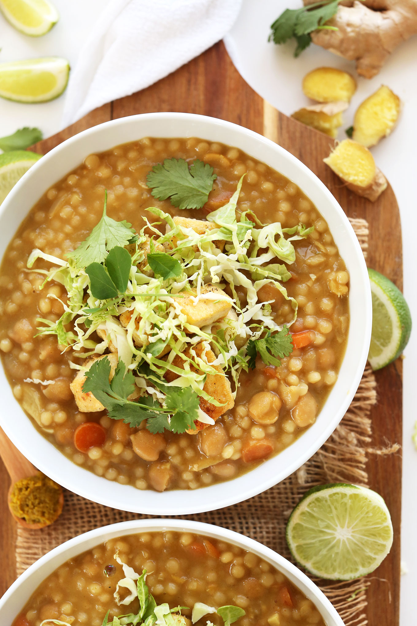 Bowls of our 30-Minute Green Chickpea Curry recipe for a quick vegan dinner