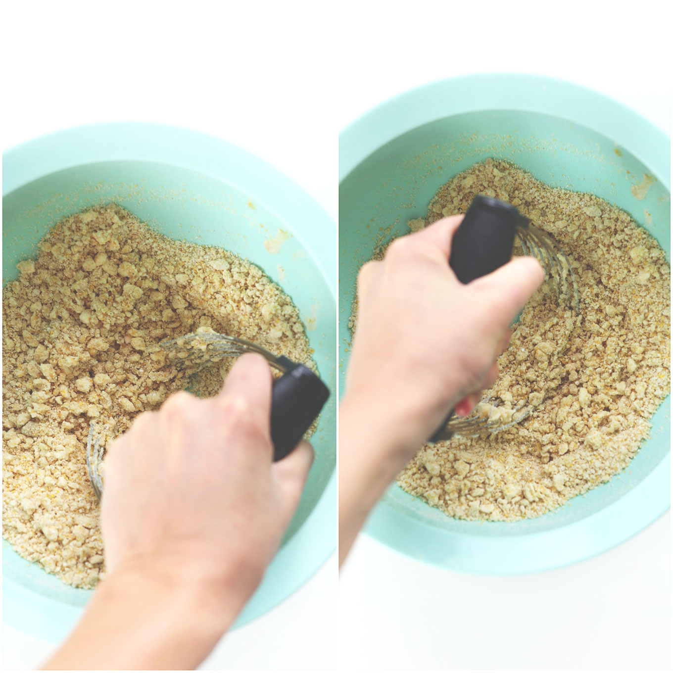 Using a pastry cutter to cut vegan butter into dry ingredients for Peanut Butter Cheese Crackers