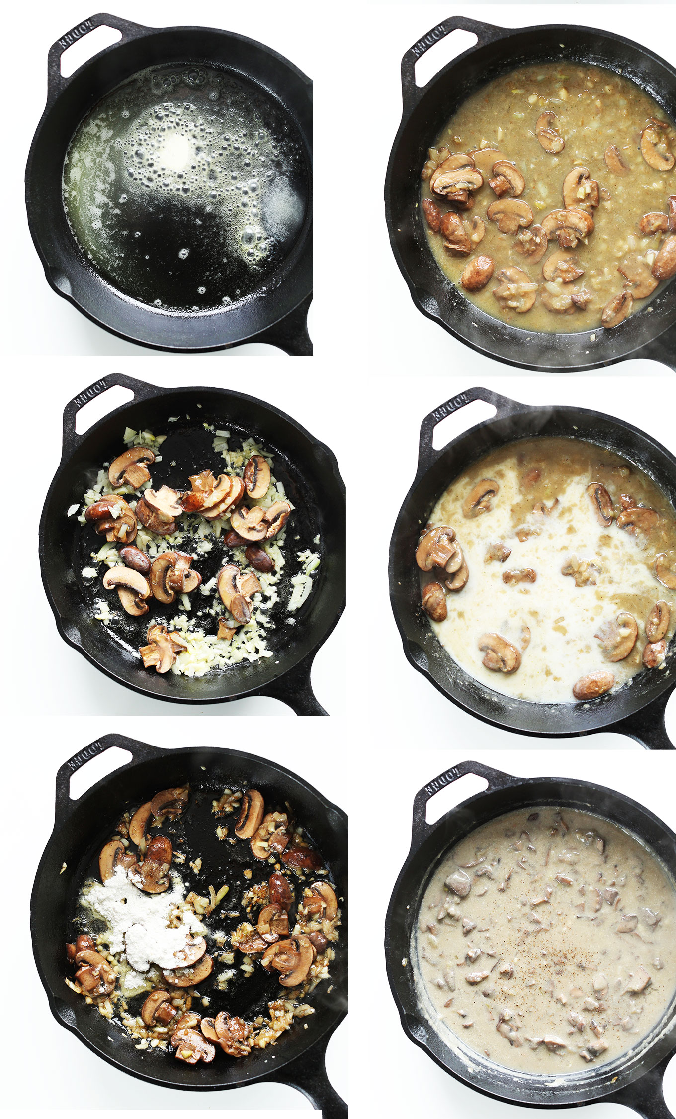 Photos showing steps for making homemade vegan Mushroom Gravy in a cast-iron skillet