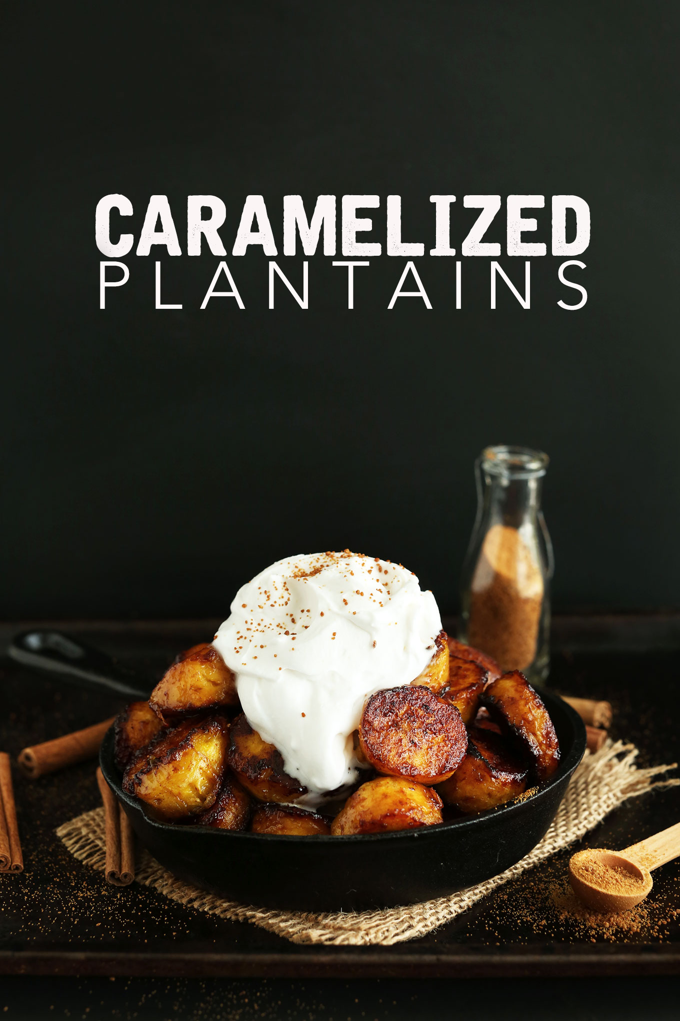 Skillet of Coconut Sugar Caramelized Plantains topped with coconut whip for a vegan gluten-free dessert