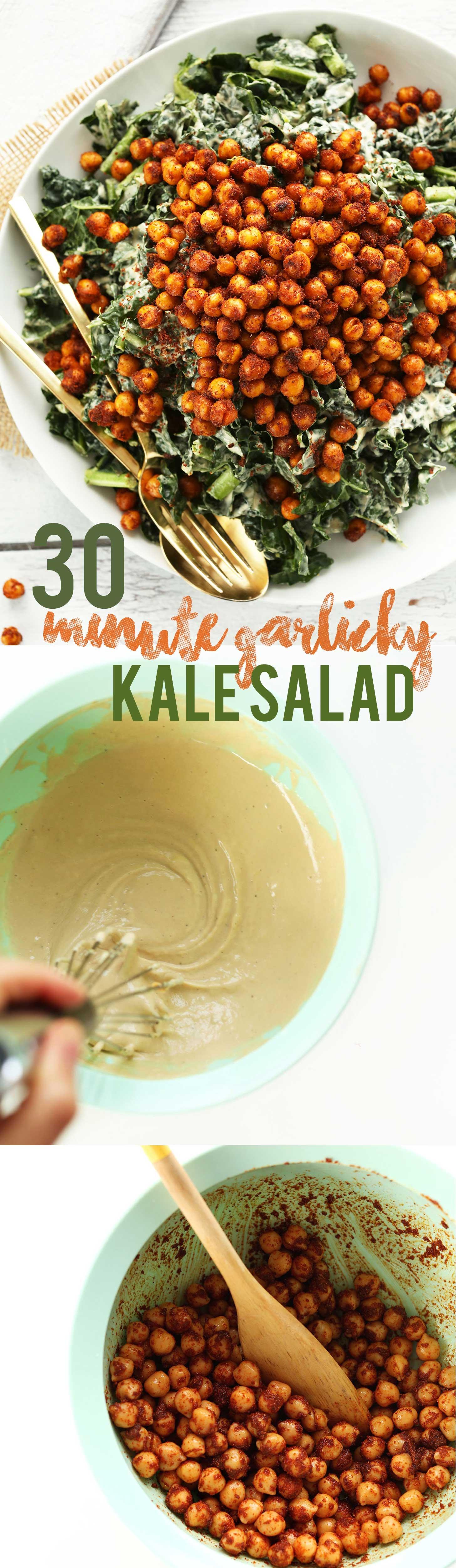 AMAZING 30 minute Garlicky Kale Salad with Crispy Chickpeas! #vegan #glutenfree #plantbased