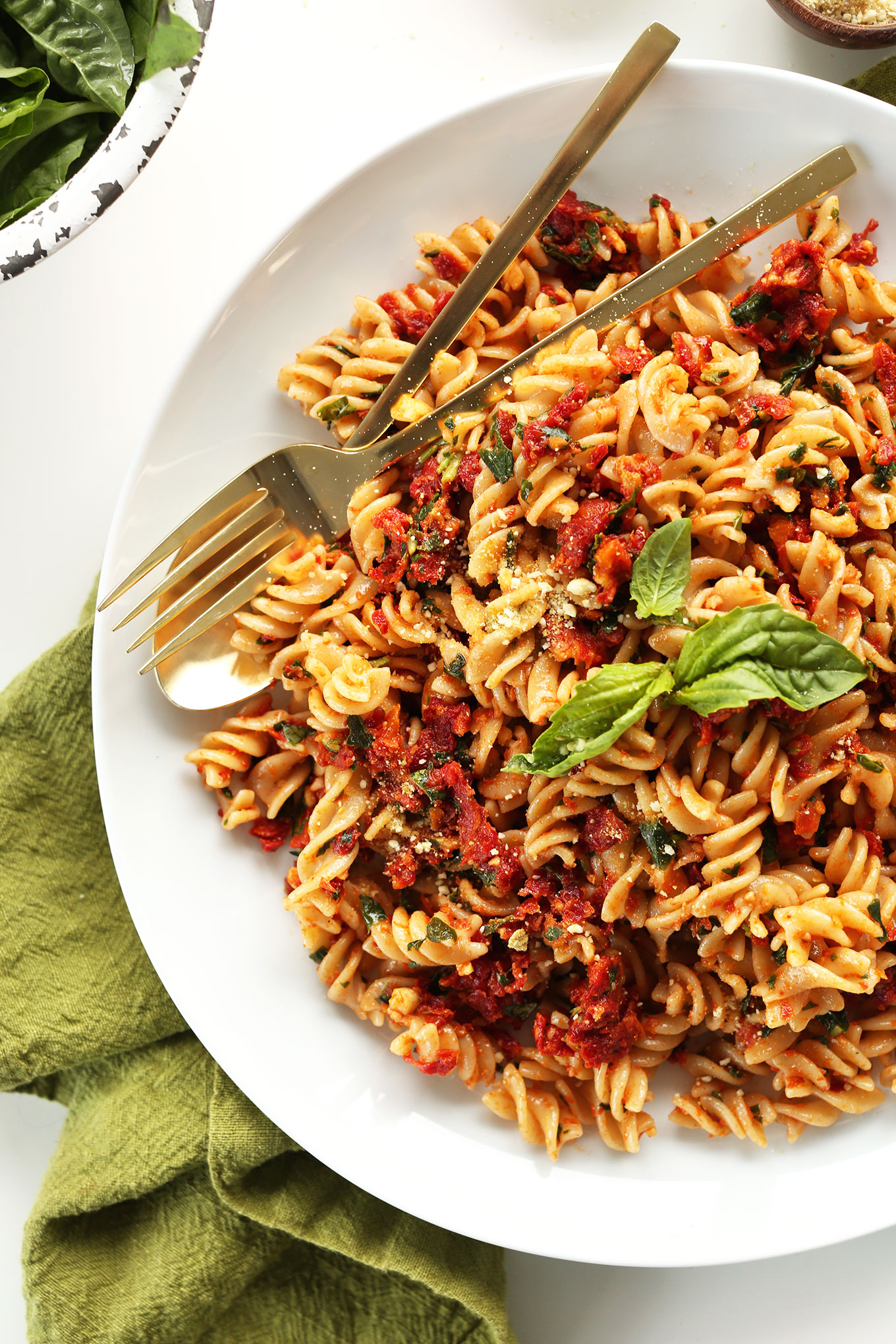Simple gluten-free vegan dinner of our Sun-Dried Tomato Pesto Pasta recipe