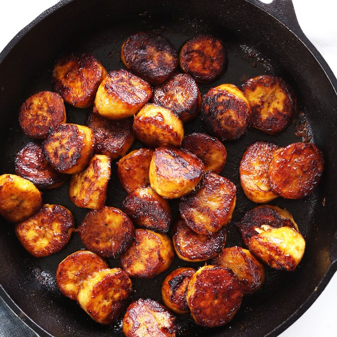 Skillet filled with 15-minute Coconut Sugar Caramelized Plantains