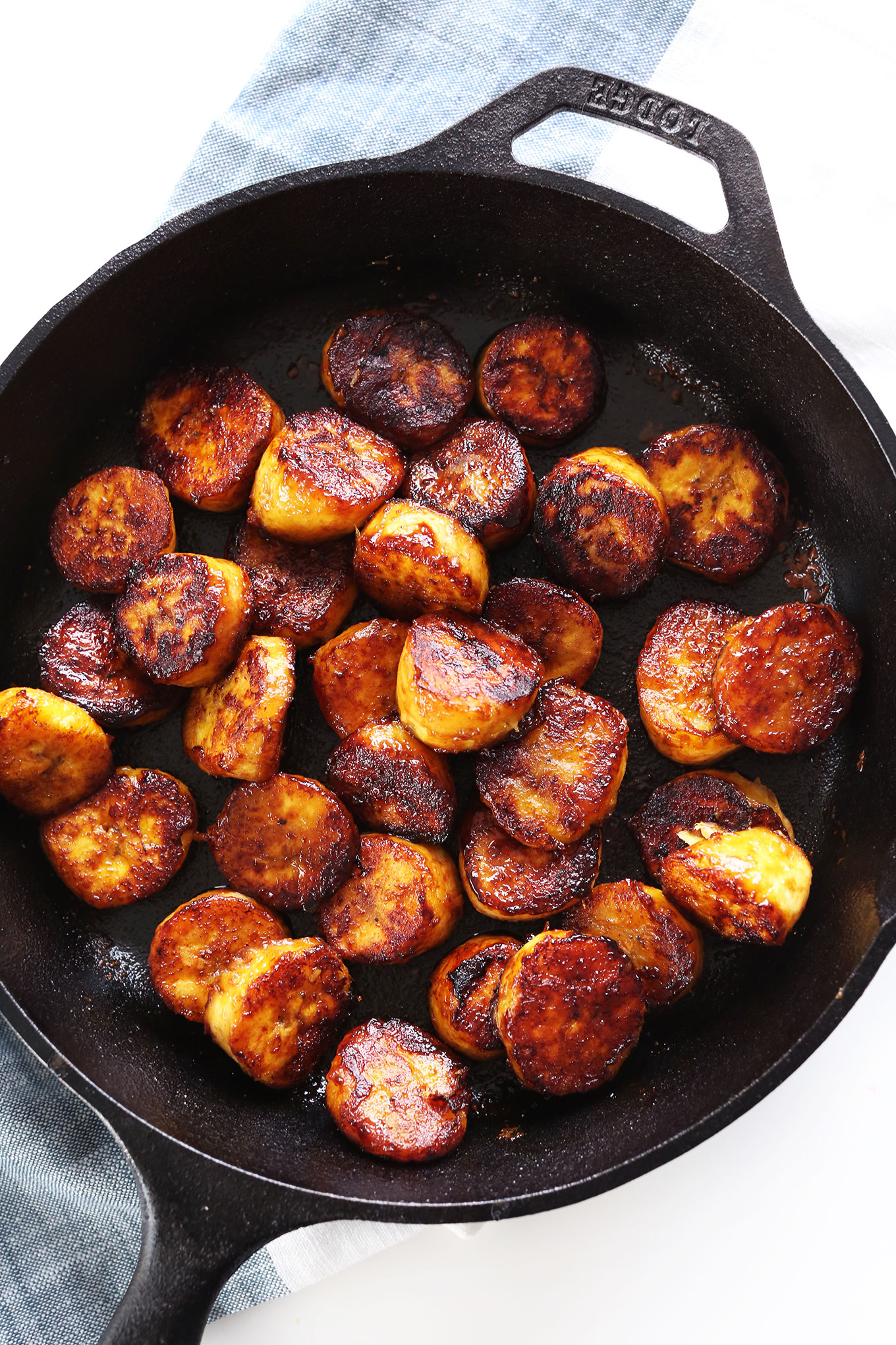Cast-iron skillet with Amazing Coconut Sugar Caramelized Plantains