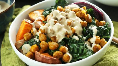 Healthy gluten-free vegan dinner of Sweet Potato Chickpea Buddha Bowls