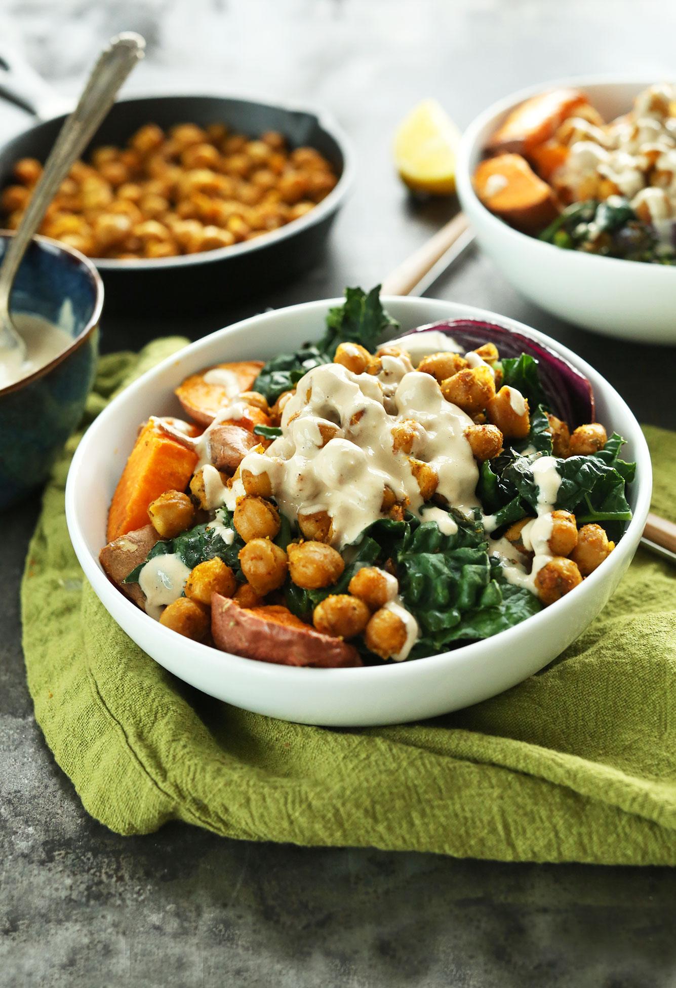 AMAZING Sweet Potato Chickpea Buddha Bowl with Kale, Red Onion, and a STUNNING Tahini-maple sauce! #vegan #glutenfree #dinner #minimalistbaker