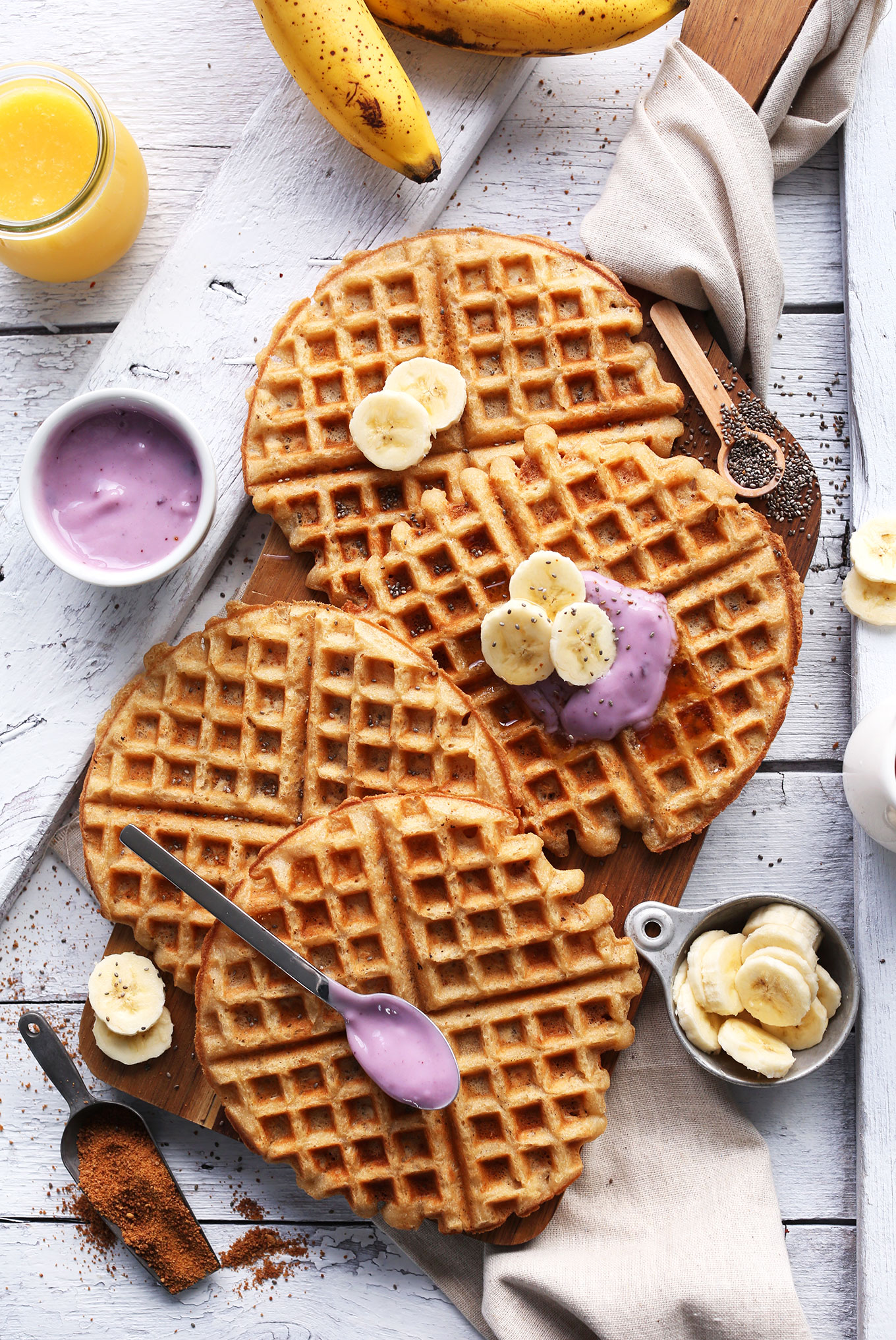 Homemade Vegan GF Yogurt Waffles that are both crispy and tender