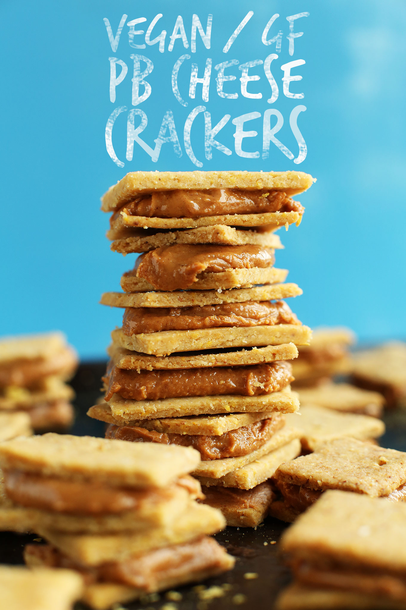 Vegan and gluten-free Peanut Butter Cheese Crackers stacked up for a healthy snack