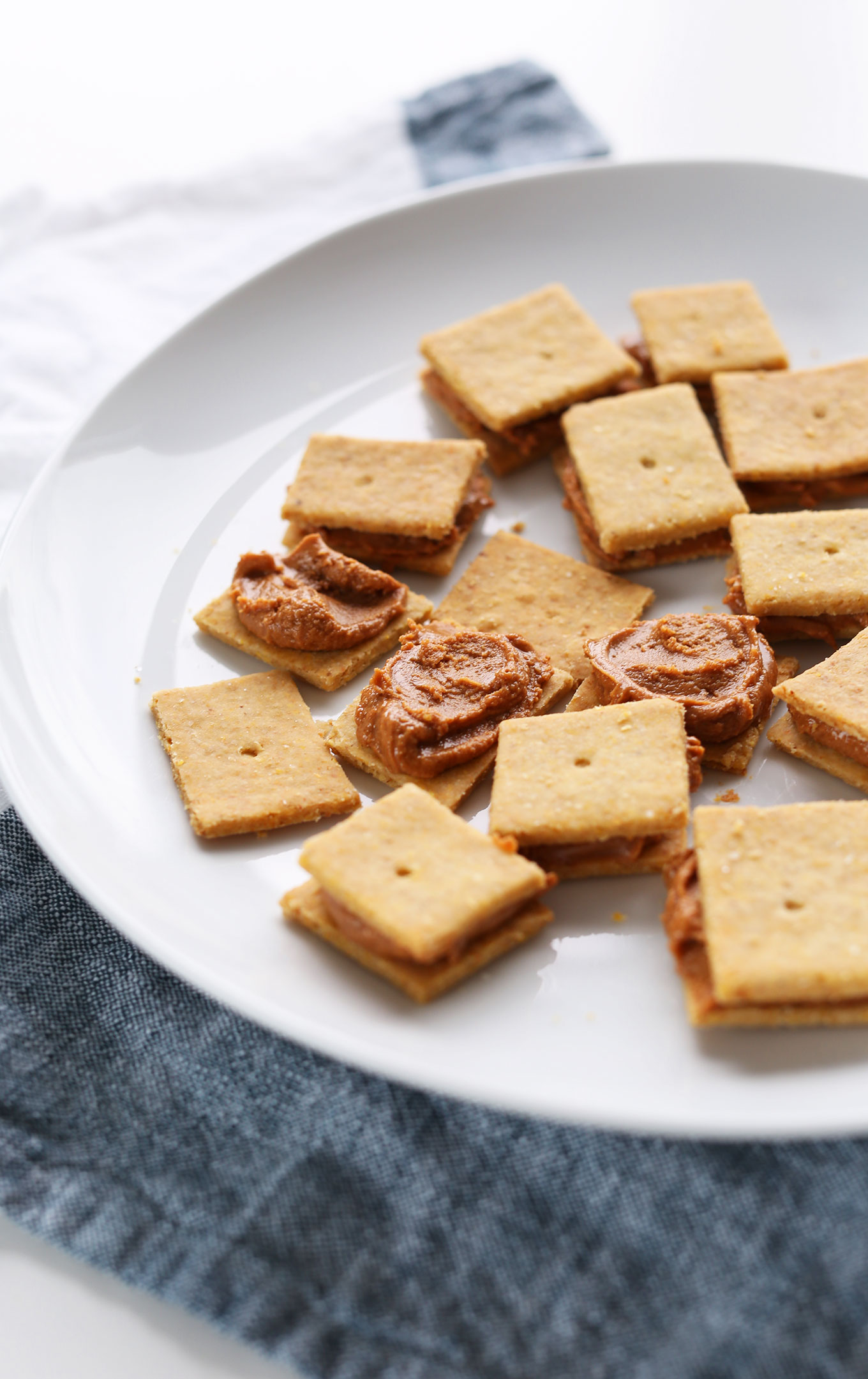 Plate of delicious Peanut Butter Cheese Crackers for a vegan GF snack