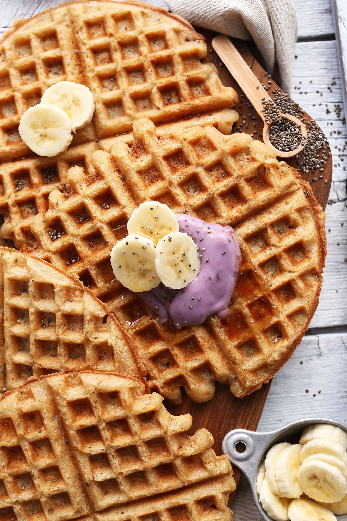Vegan GF Yogurt Waffles with fresh fruit and yogurt for a delicious breakfast