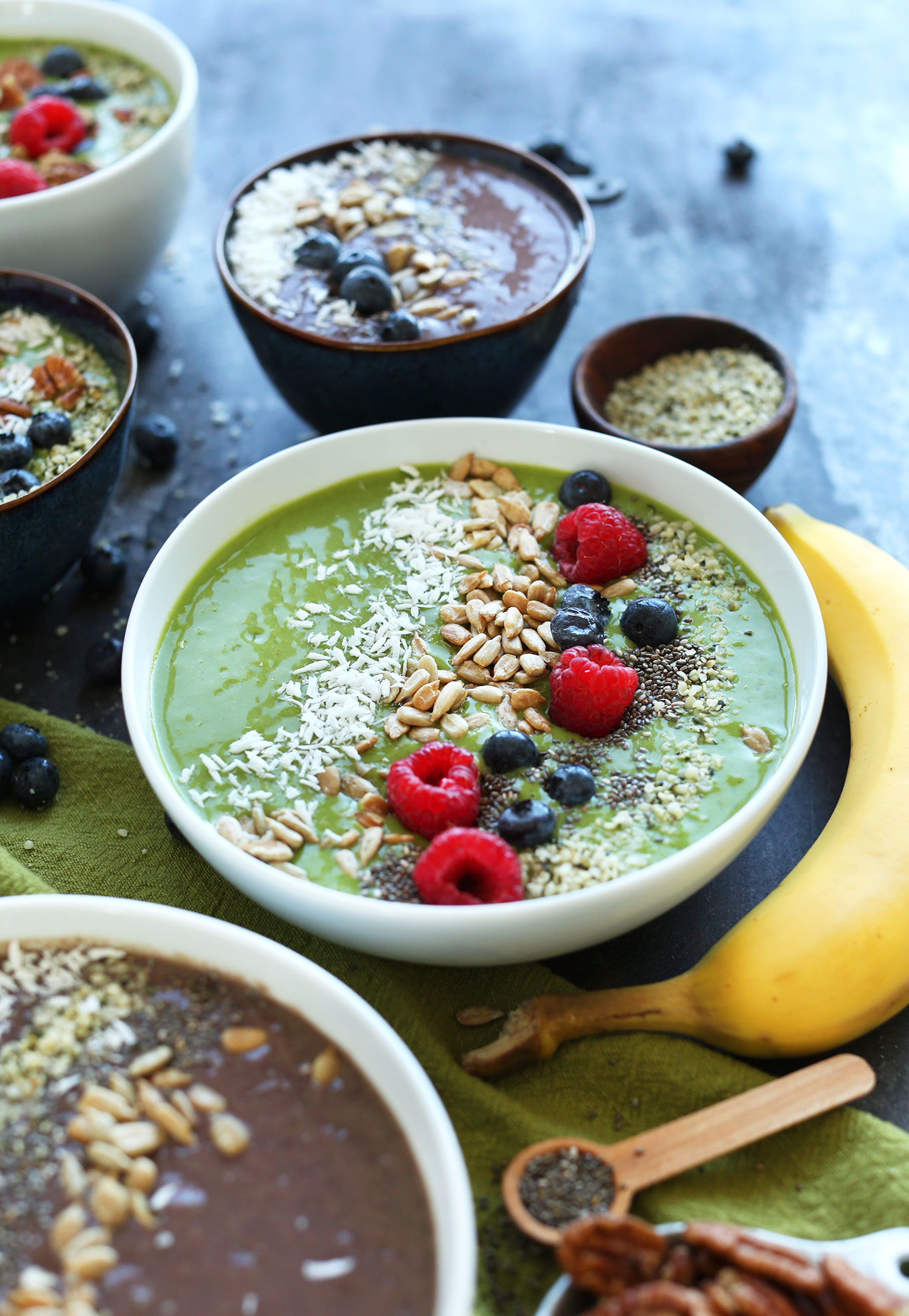 Super Green Smoothie Bowls with gluten-free vegan toppings