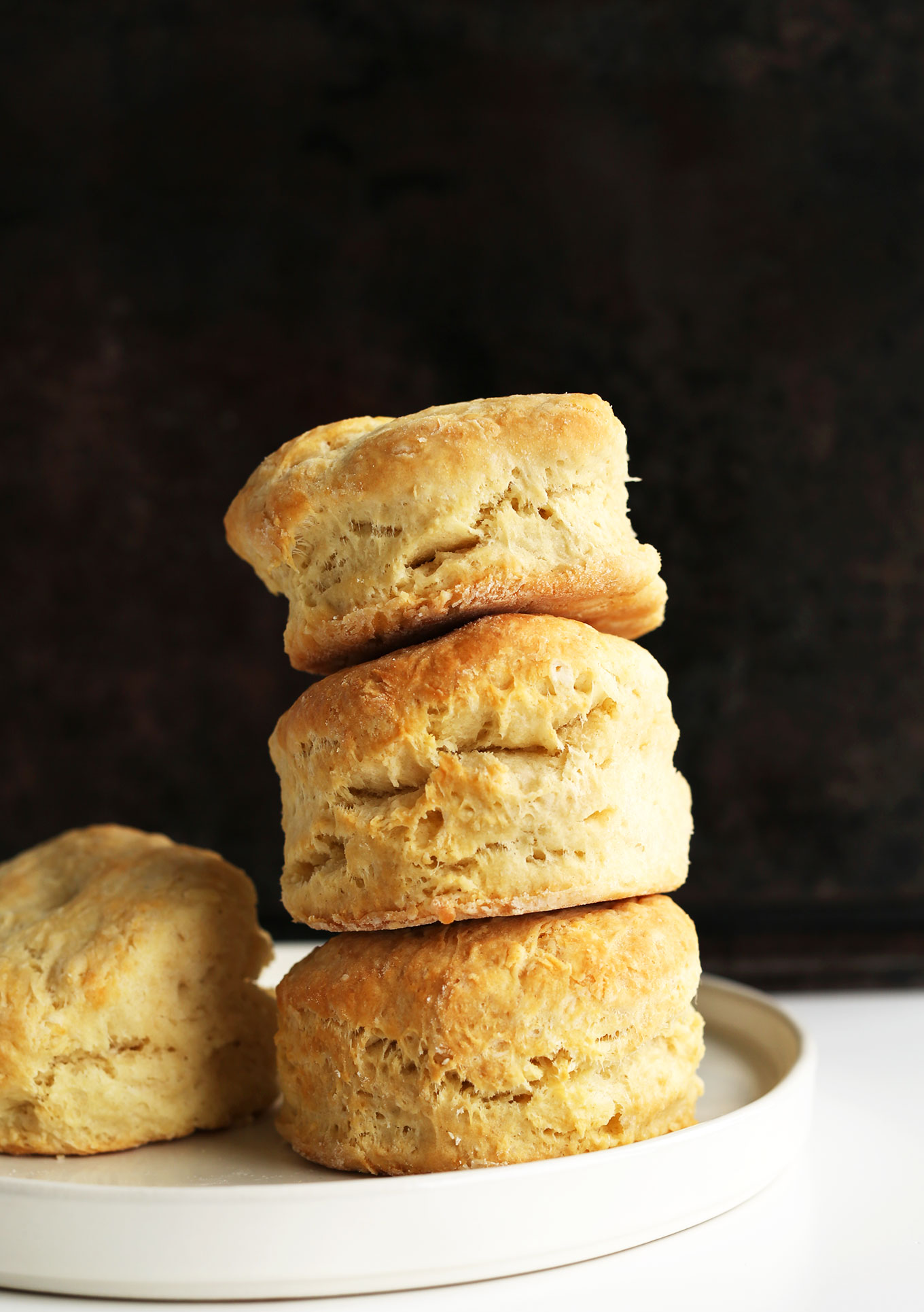 Stack of the best flaky vegan biscuits
