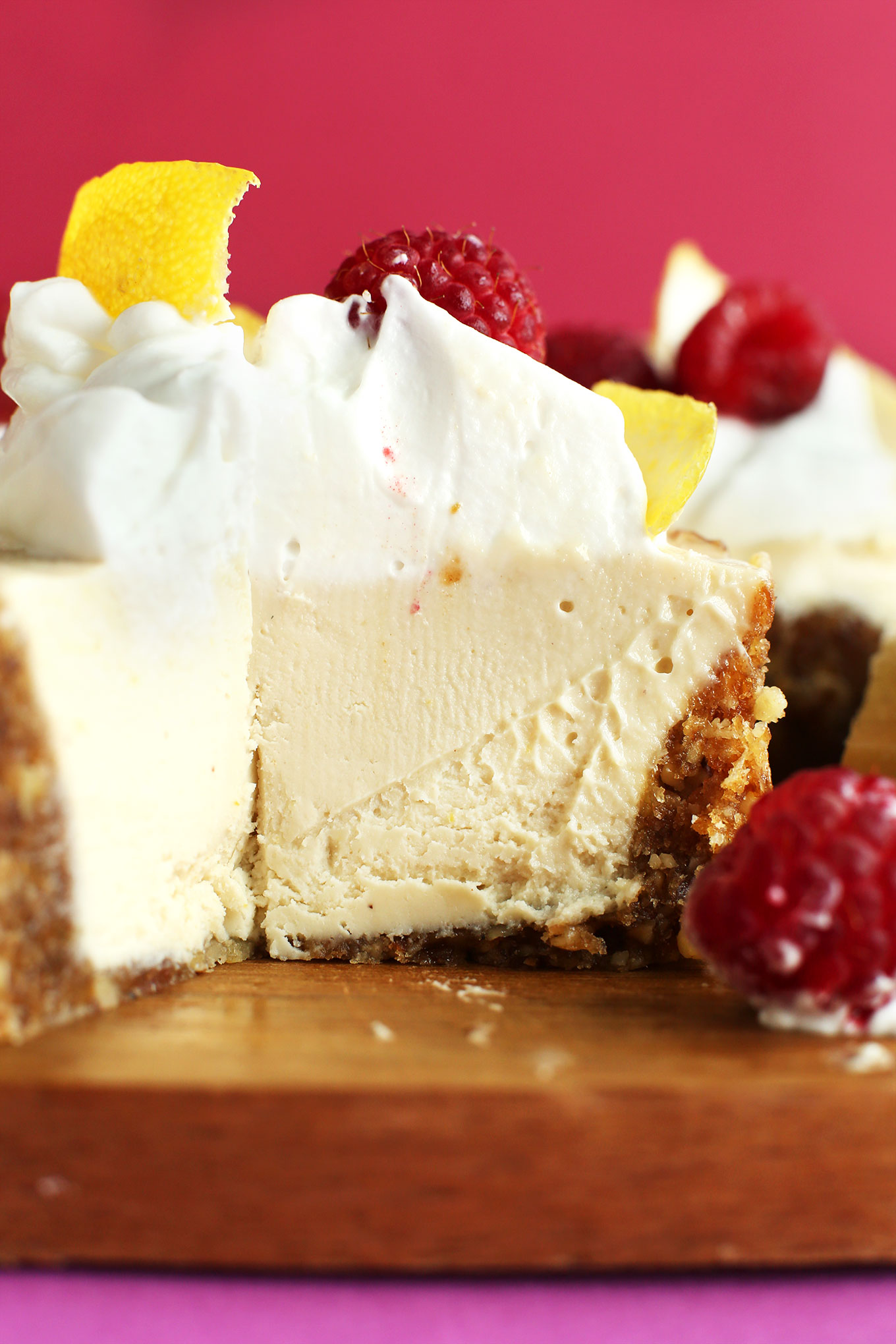 Close up shot of the inside of our creamy vegan White Chocolate Cheesecake