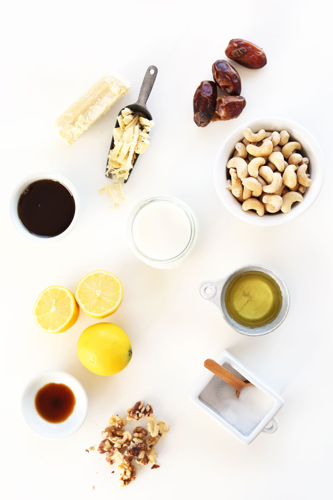 Ingredients laid out for making delicious gluten-free vegan White Chocolate Lemon Cheesecakes