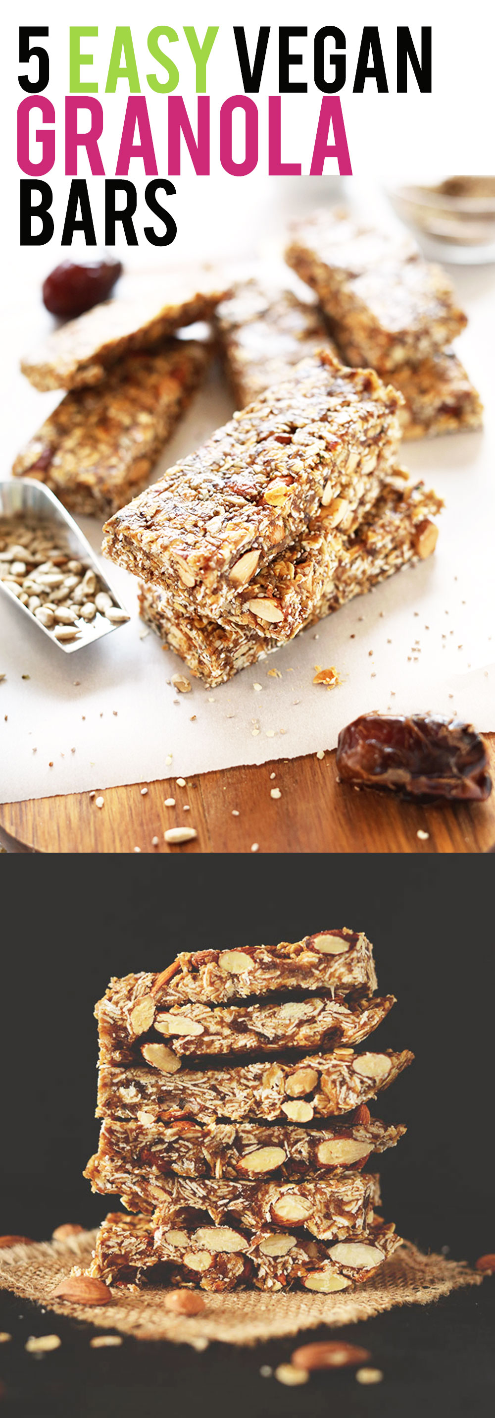 5 EASY Vegan Granola Bar recipes. Wholesome ingredients, simple preparation and BIG flavor! #vegan