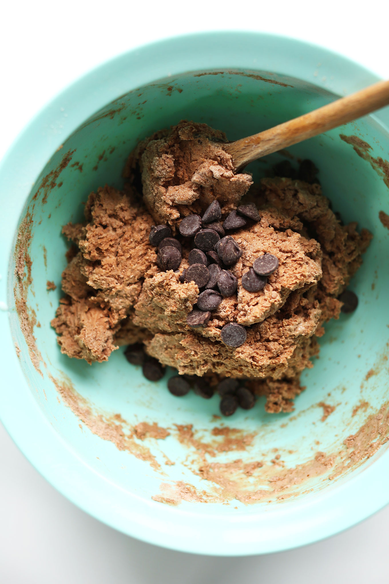 Bowl of Vegan Chocolate Shortcake batter with dark chocolate chips