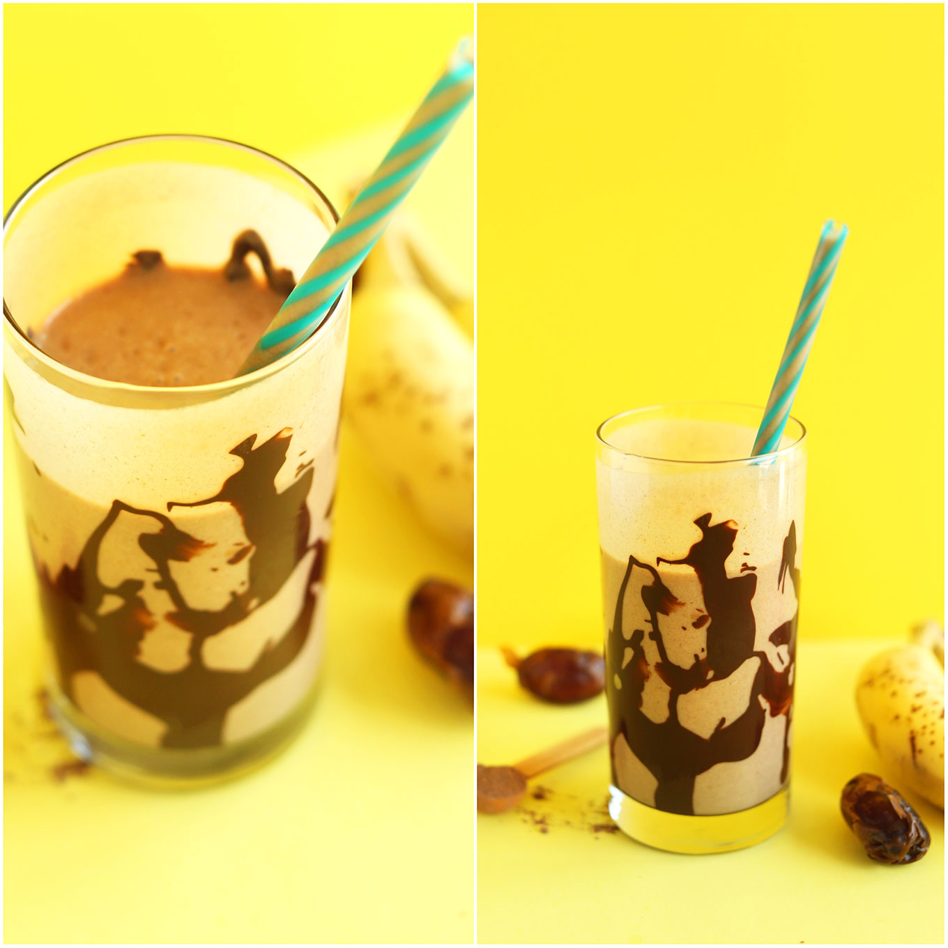 Glasses of our healthy Peanut Butter Banana Chocolate Shake for a gluten-free vegan treat