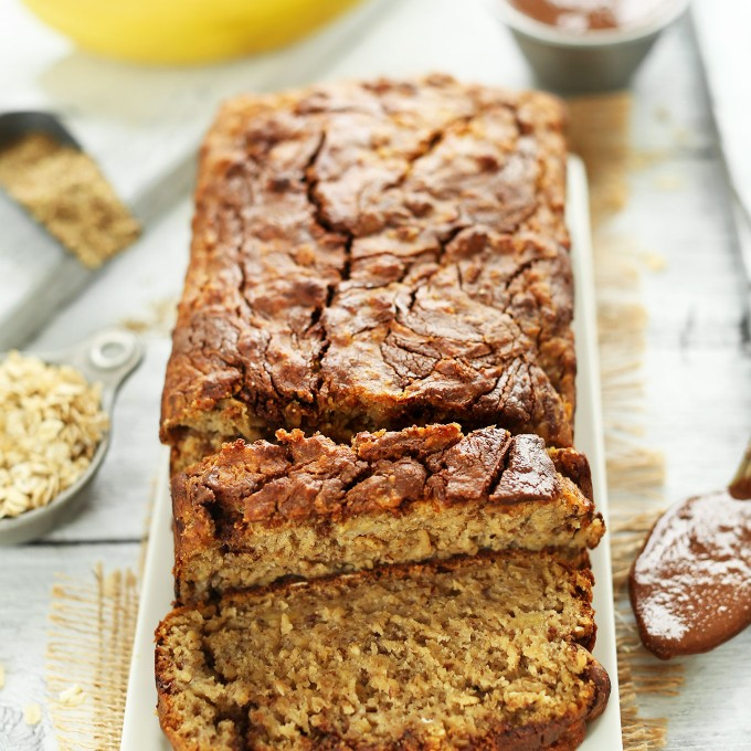 Freshly sliced Nutella Banana Bread for a delicious gluten-free vegan dessert