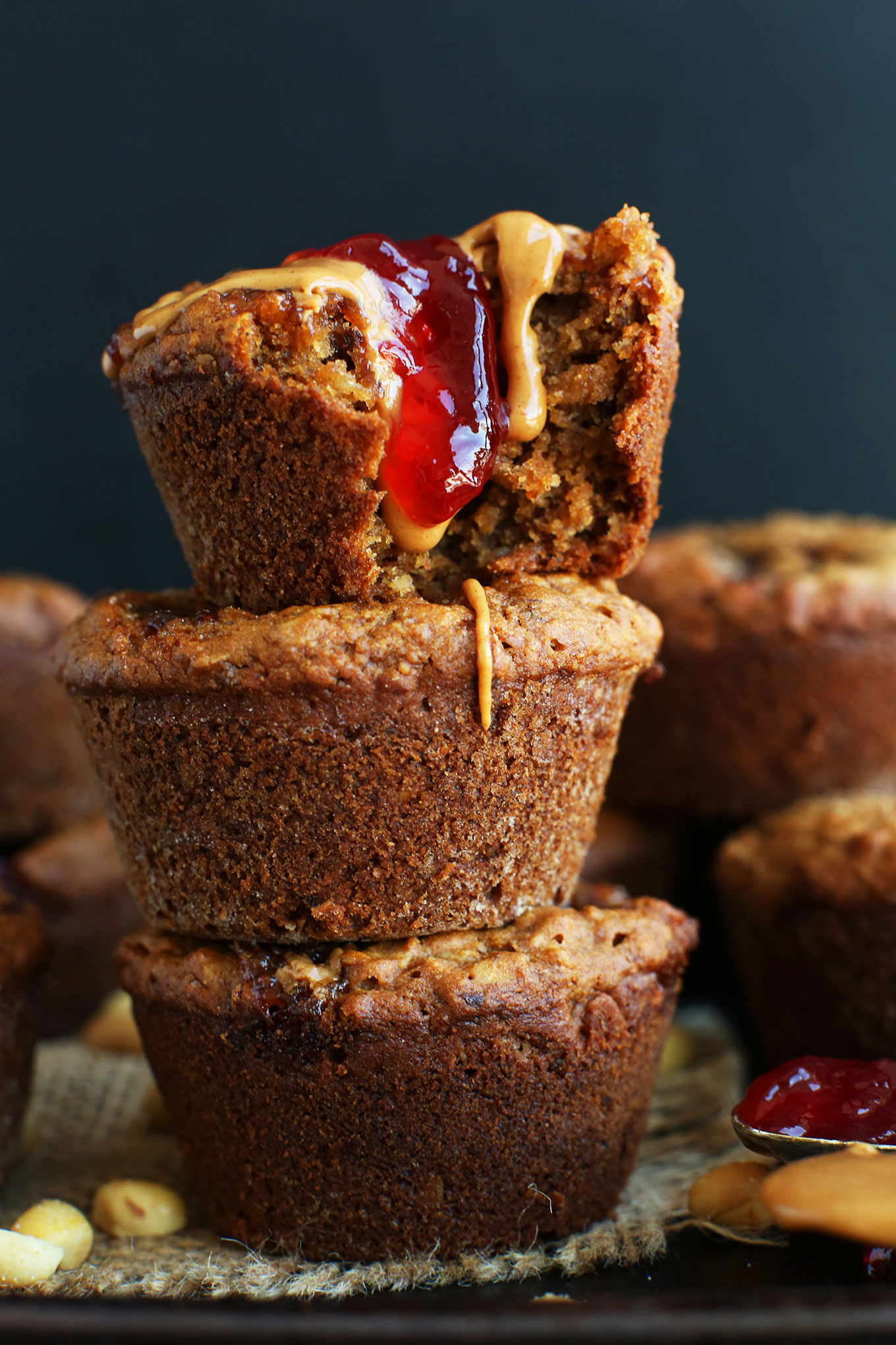 Stack of our amazing 1-Bowl PB&J Muffins recipe