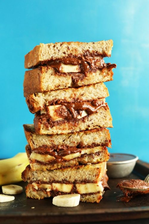 Stack of sandwiches crafted using our Grilled Nutella Banana Sandwich recipe