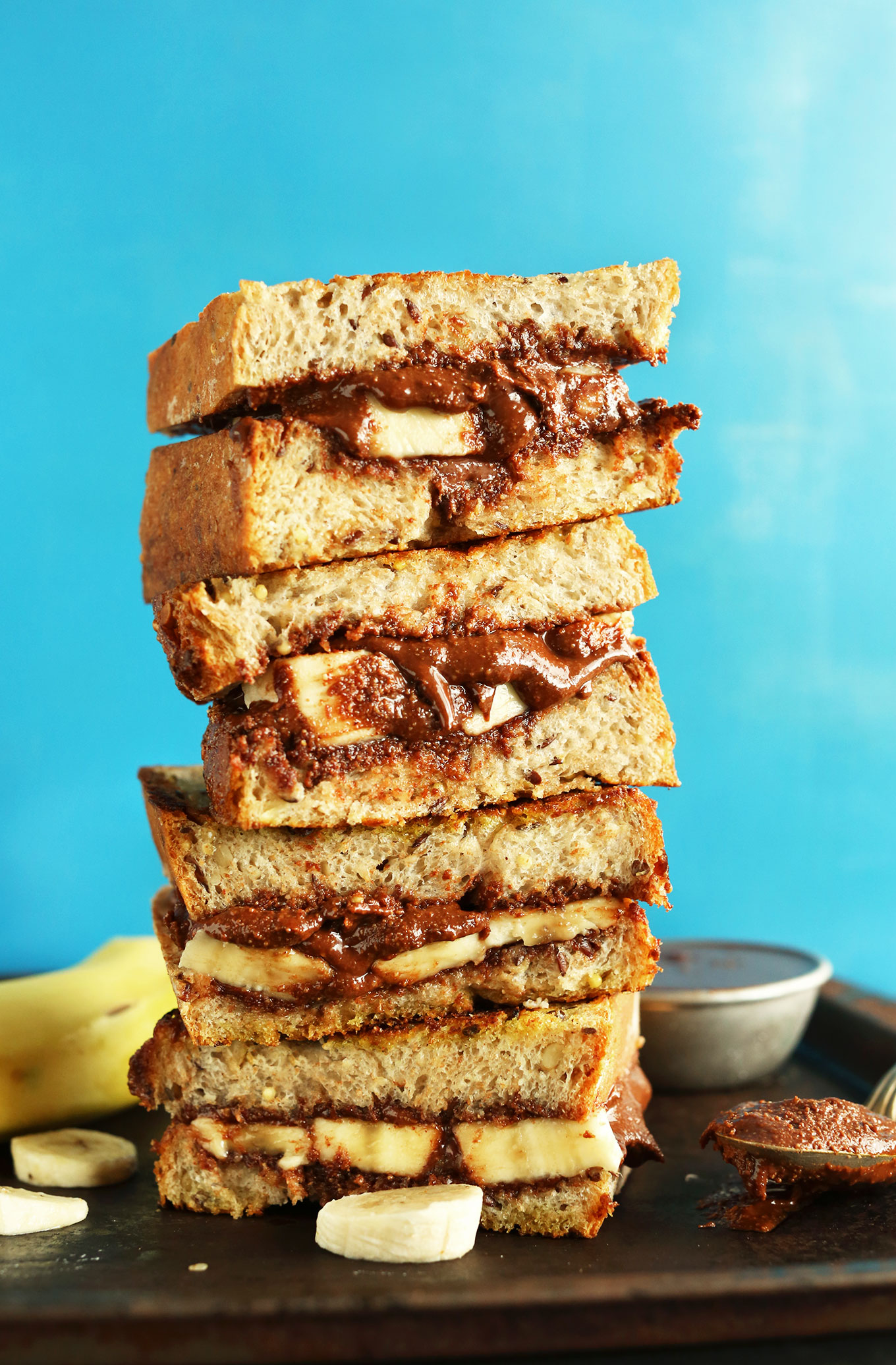 Stack of delicious vegan Grilled Banana Nutella Sandwiches
