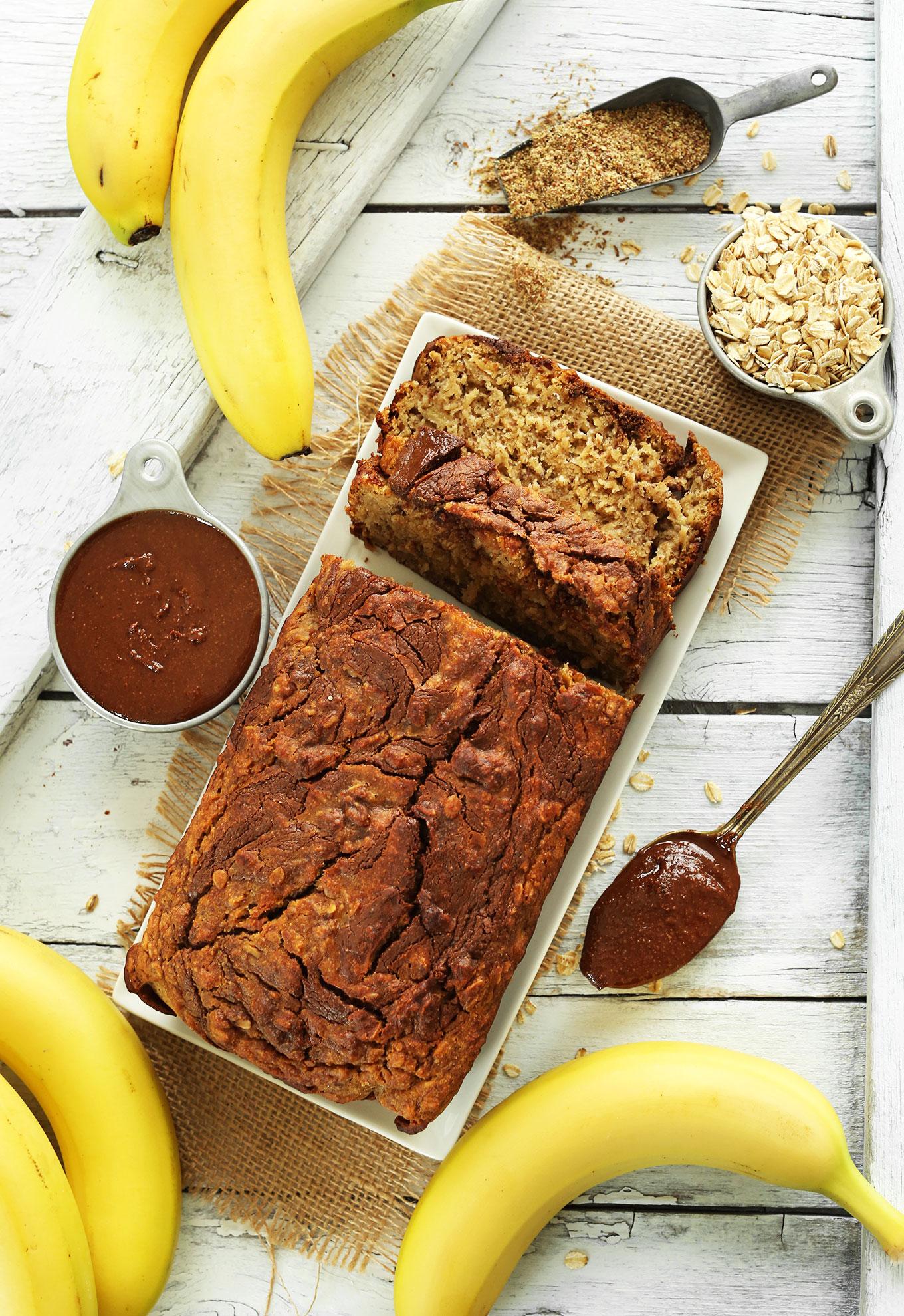 AMAZING Tender Chocolatey NUTELLA Banana Bread! #vegan #glutenfree #minimalistbaker