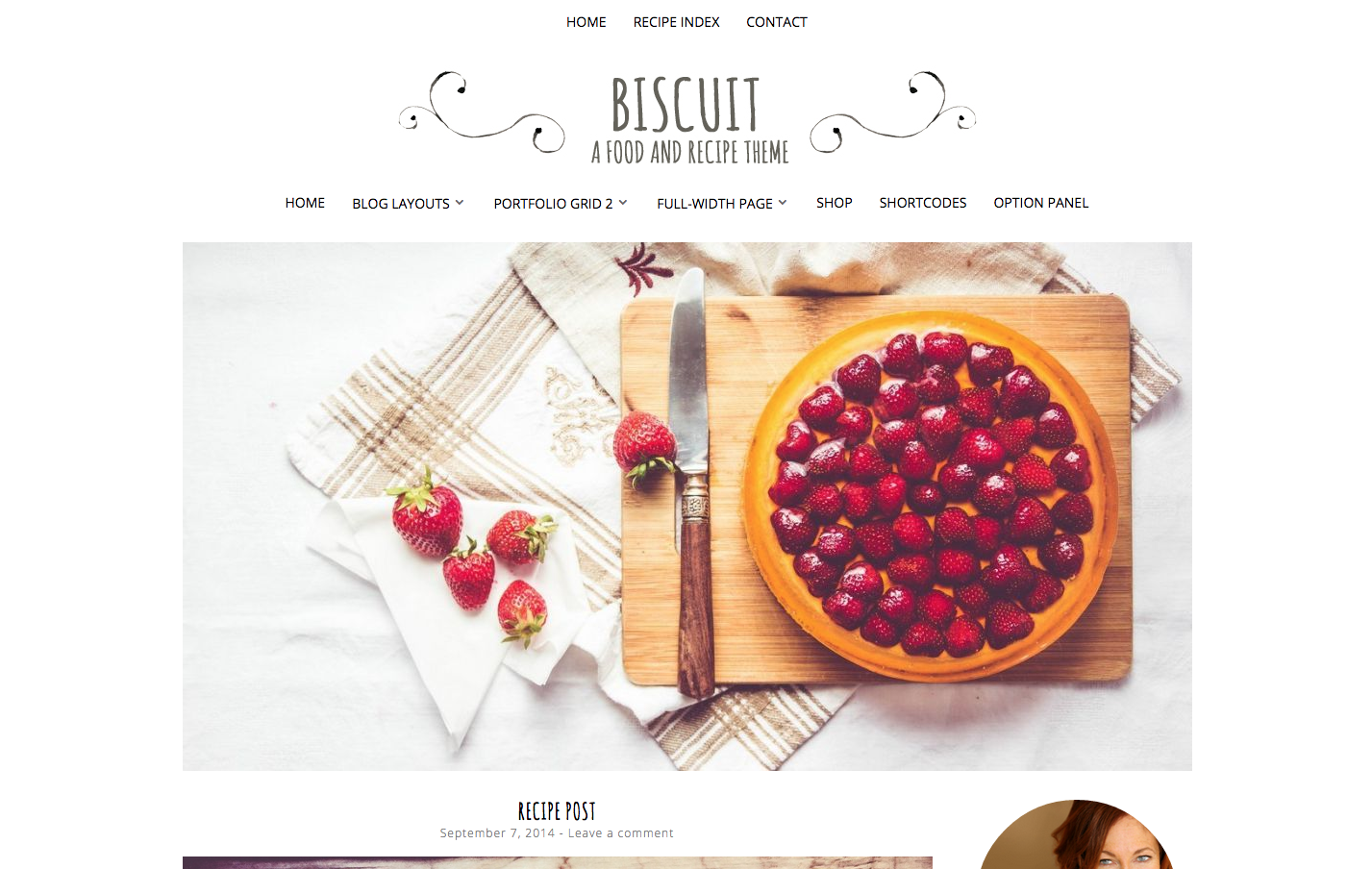 Biscuit Theme for a WordPress Food Blog