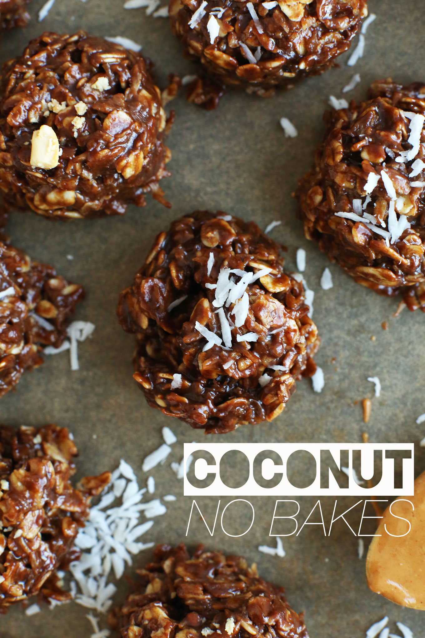 Gluten-free vegan Coconut No-Bake Cookies on parchment paper