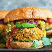 Mexican Green Chili Veggie Burgers on a tray