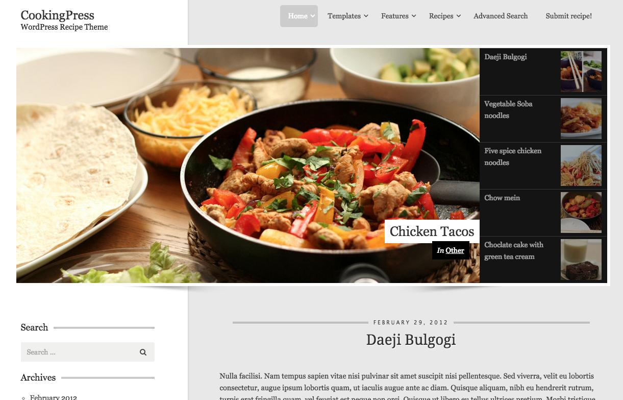 Cooking Press WordPress Food Blog Theme