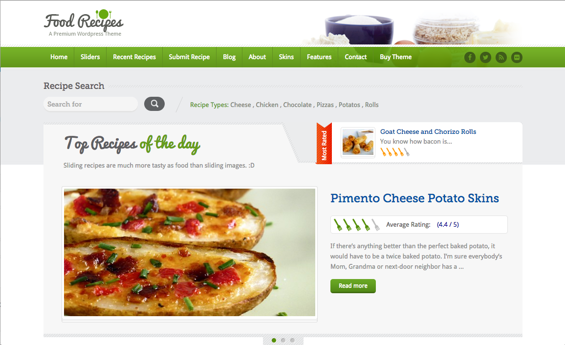 Food Recipes Theme for a WordPress Food Blog