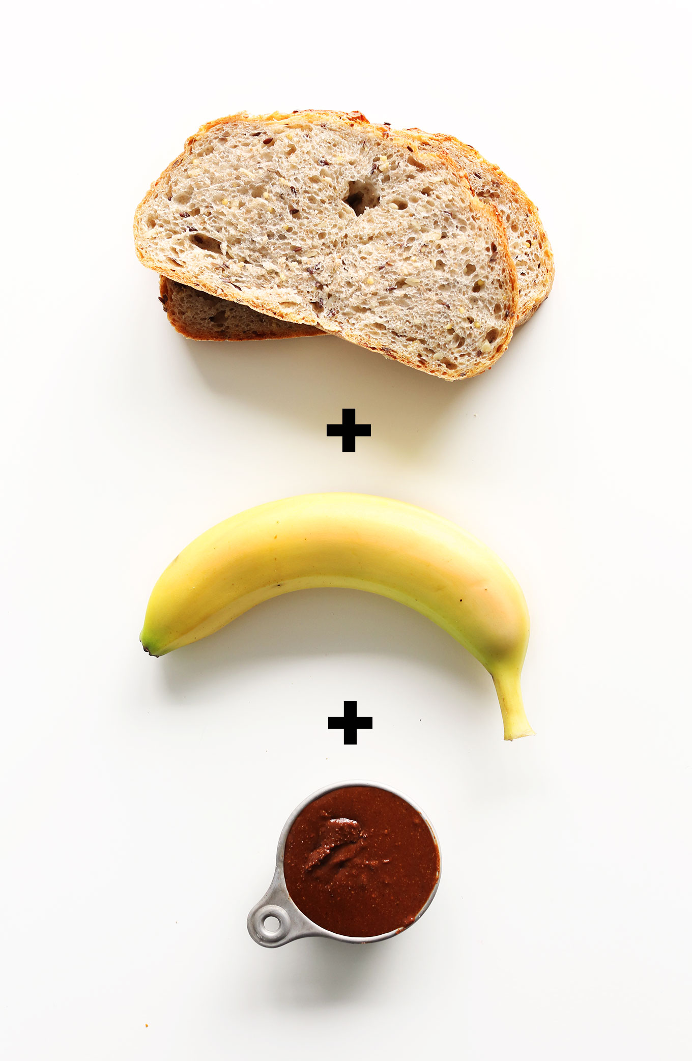 Bread, banana, and homemade vegan nutella for making a delicious treat