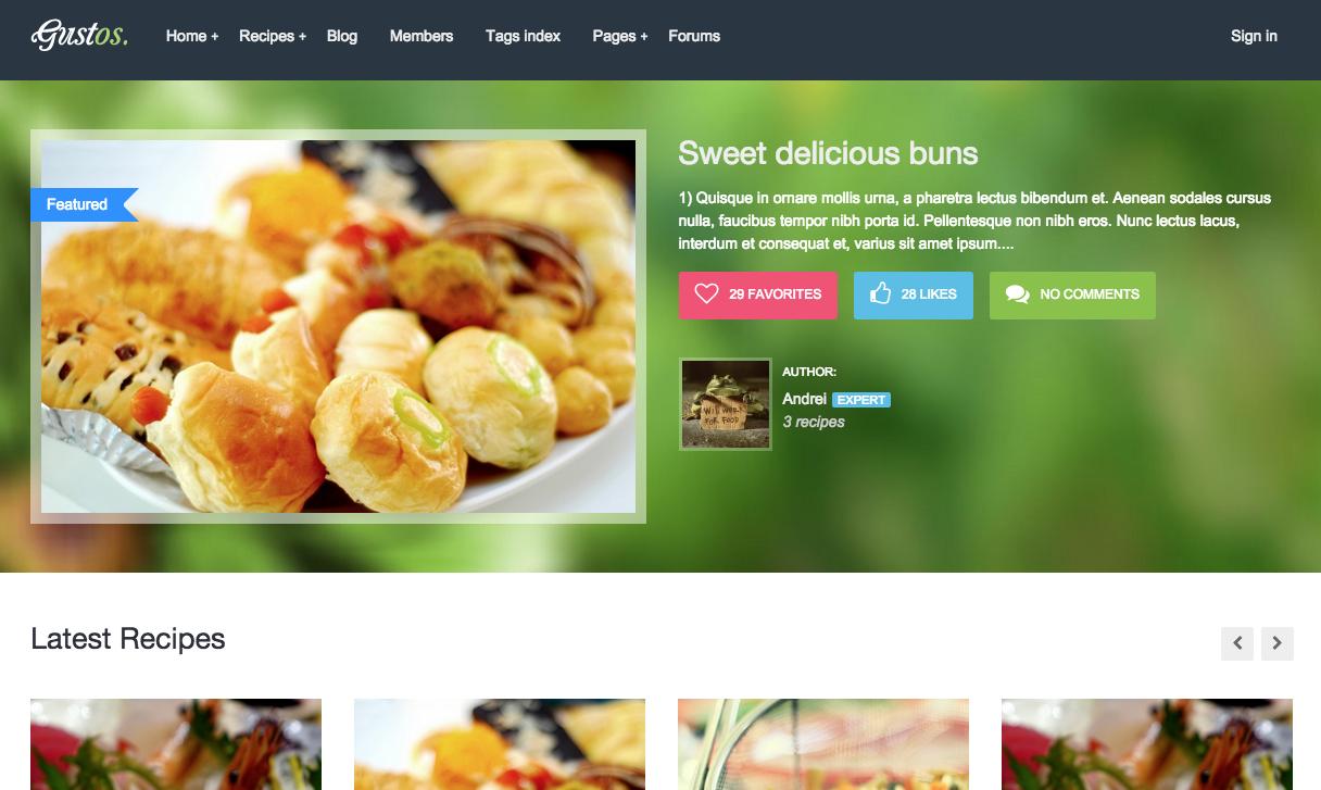Gustos WordPress Food Blog Theme