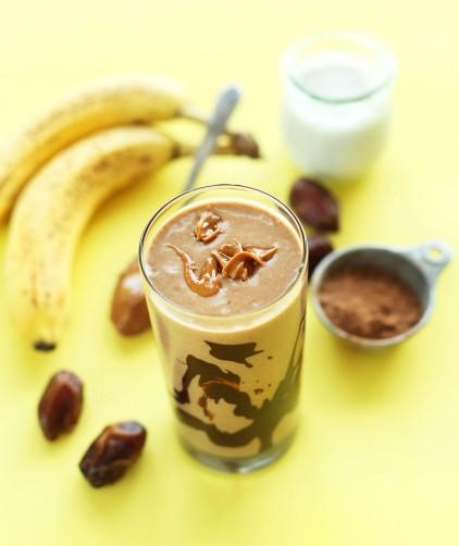 Glass of our Peanut Butter Banana vegan Milkshake recipe