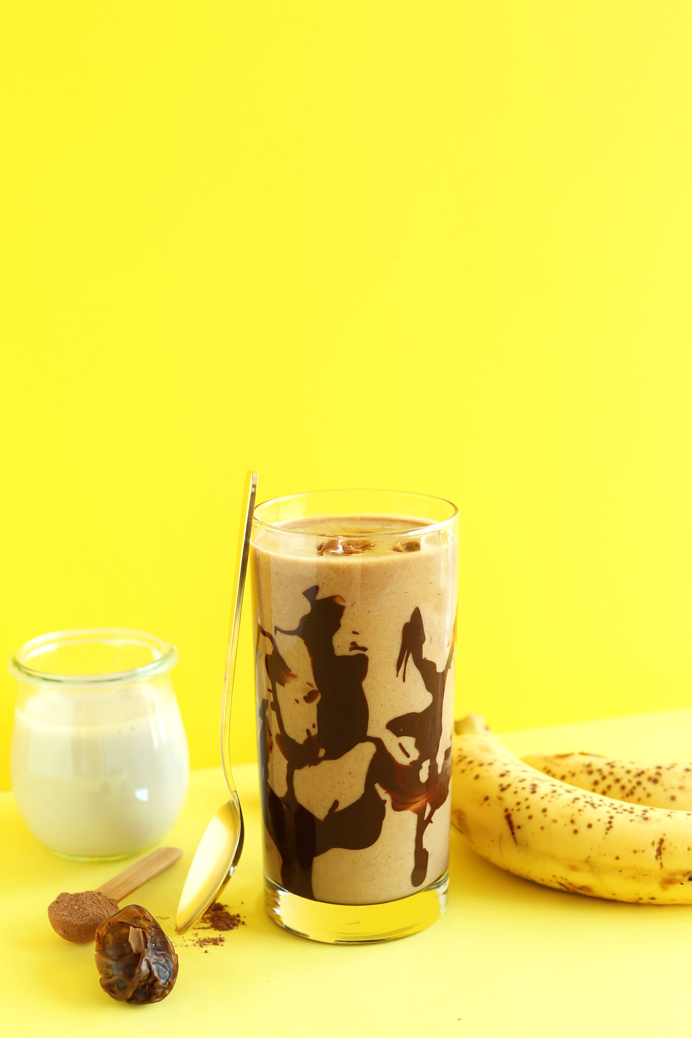 Glass of our Banana Peanut Butter Chocolate Shake recipe