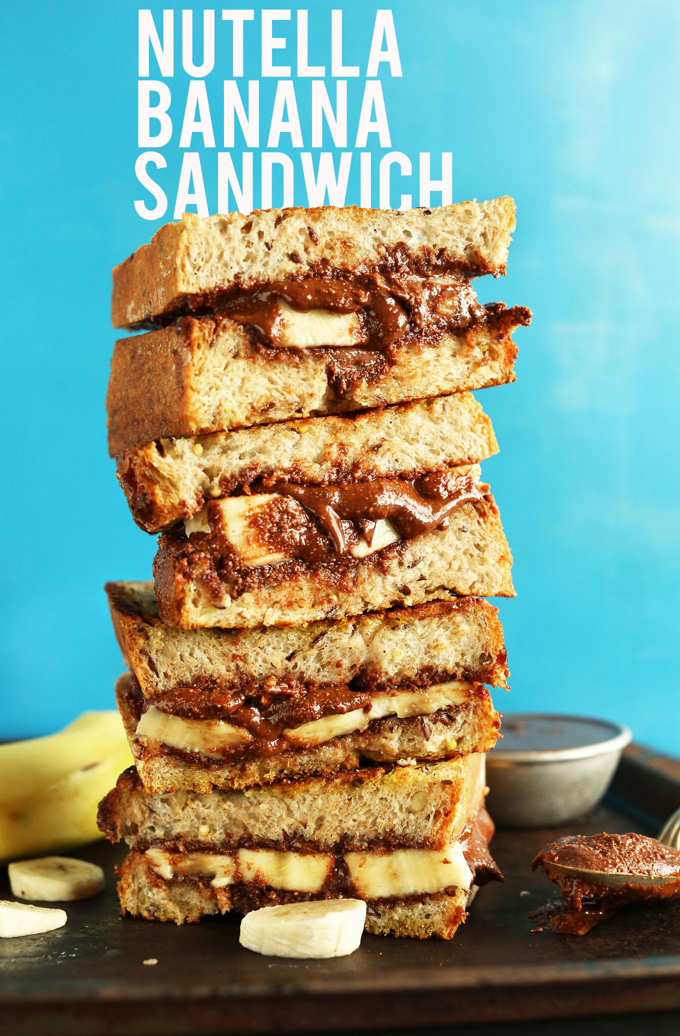 Stack of butter-free vegan Nutella Banana Sandwiches for a delicious treat