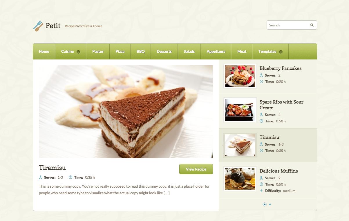Petit Theme for WordPress Food Blogs