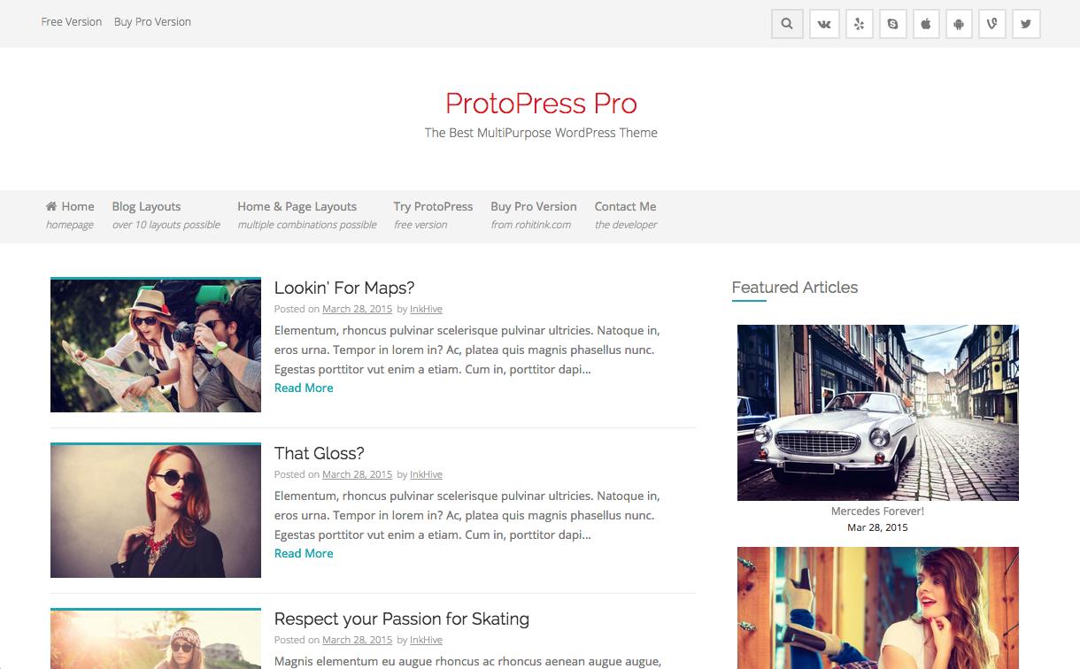 ProtoPress Pro Theme for WordPress Blogs