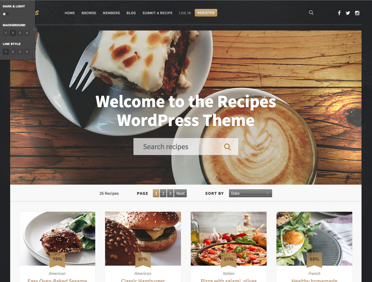 Recipes WordPress Theme for a Food Blog