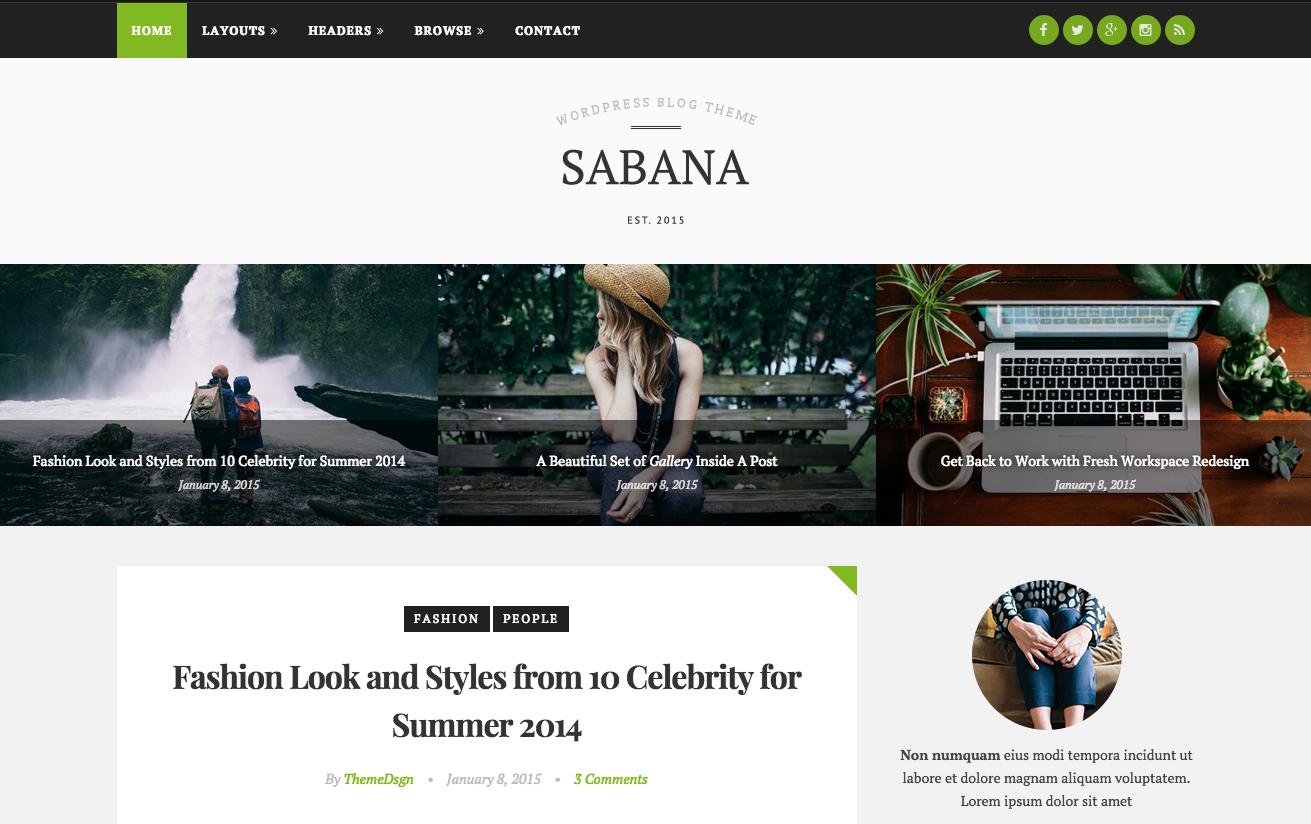 Sabana Theme for WordPress Blogs