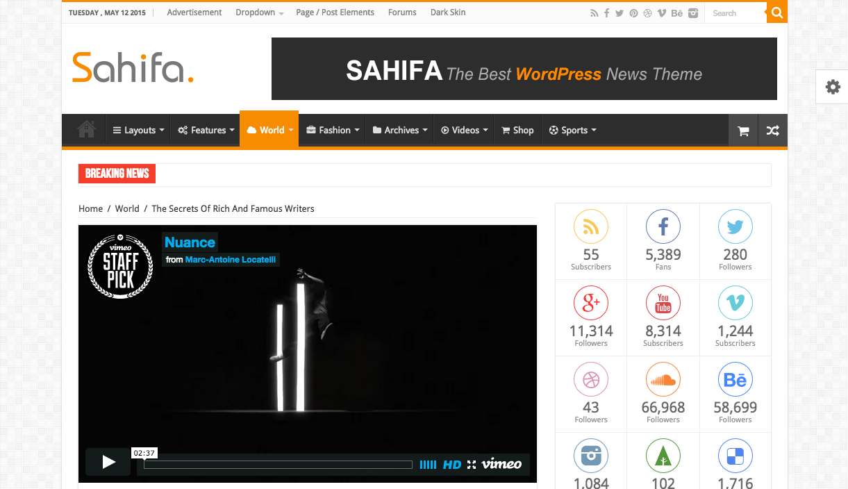 Sahifa Theme for WordPress Blogs