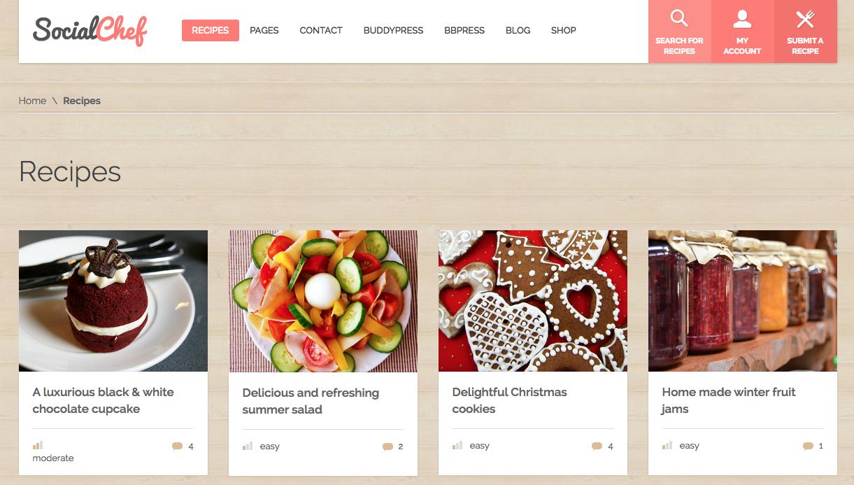 SocialChef WordPress Food Blog Theme