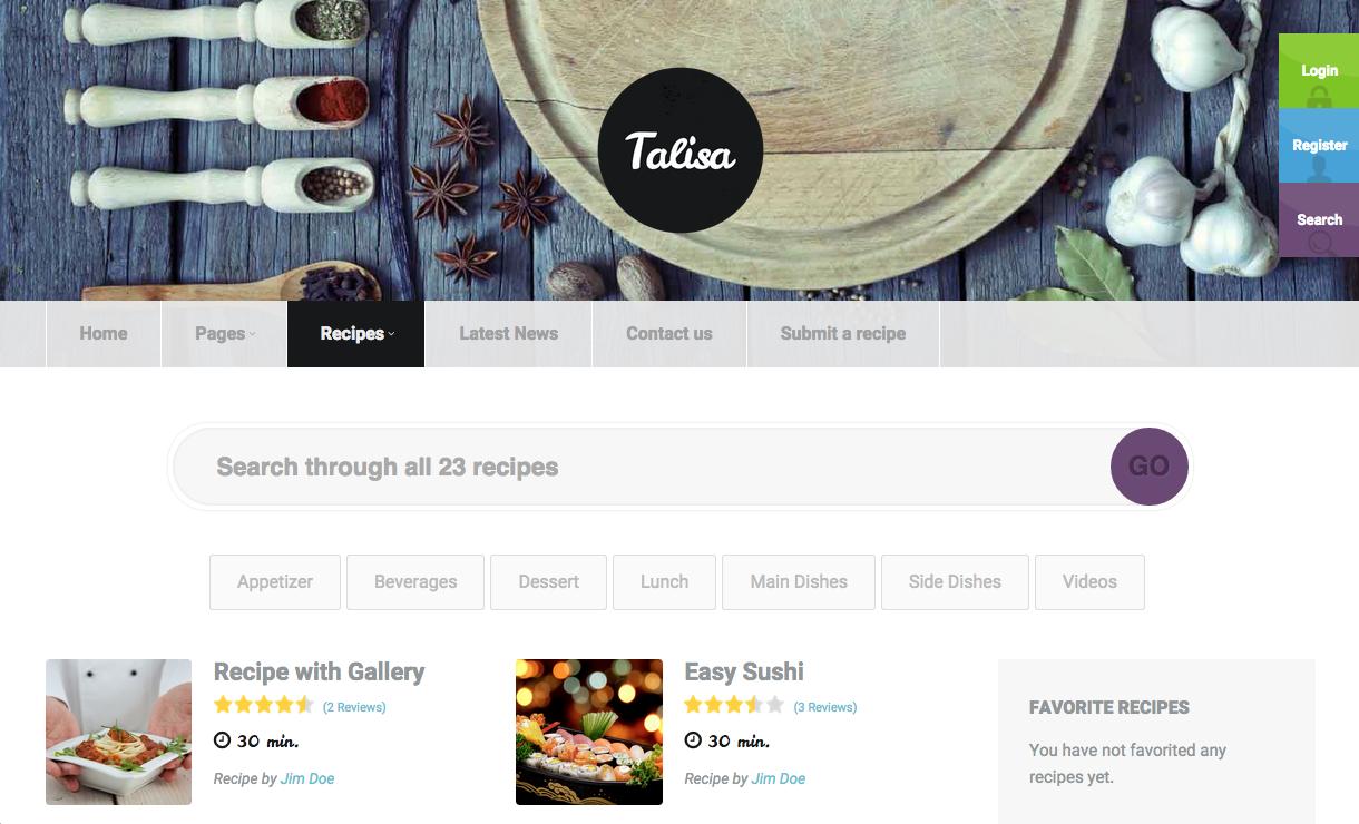 Talisa WordPress Theme for Food Blogs