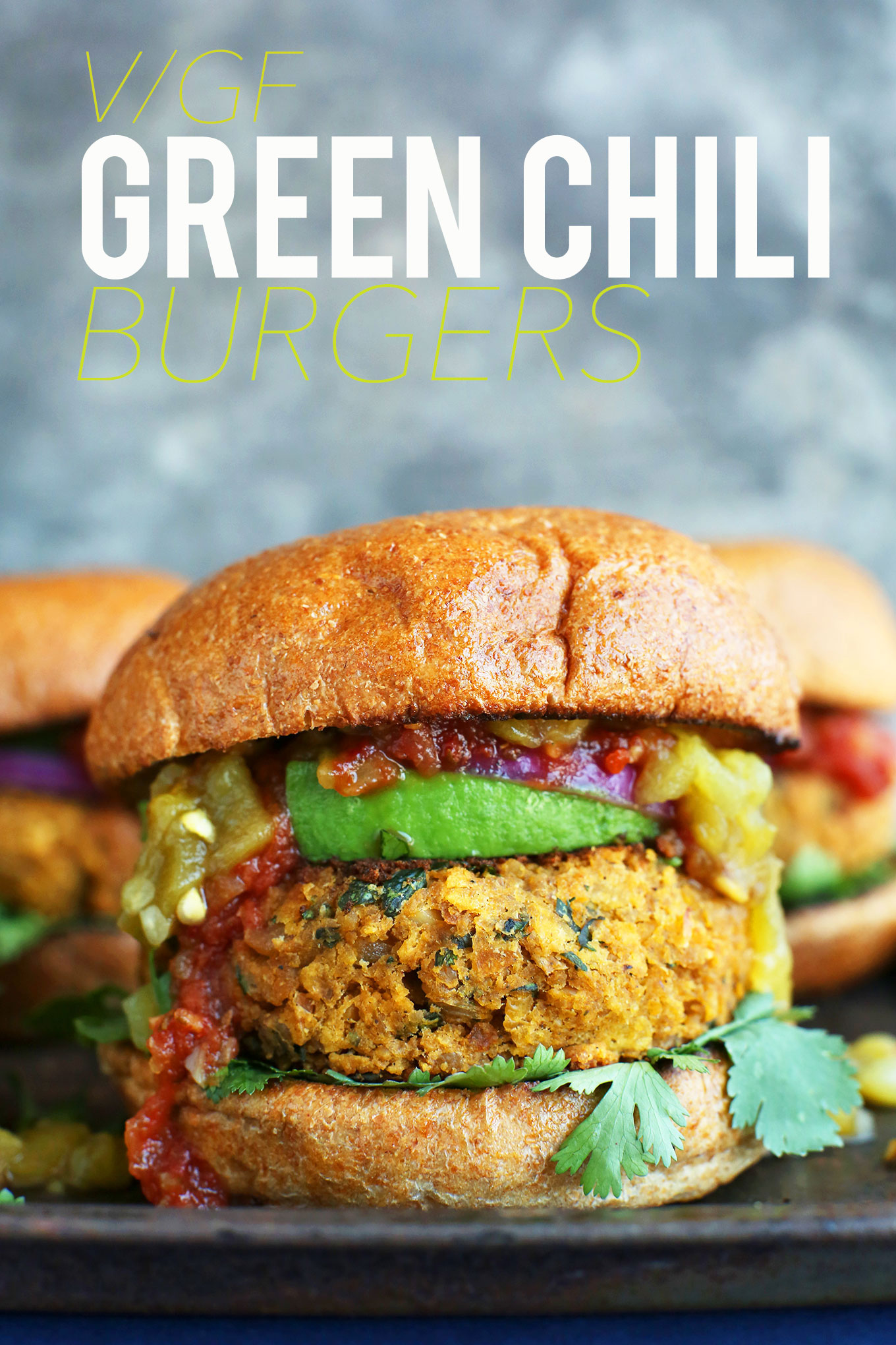 Green Chili Veggie Burger with toppings on a bun for a gluten-free vegan dinner