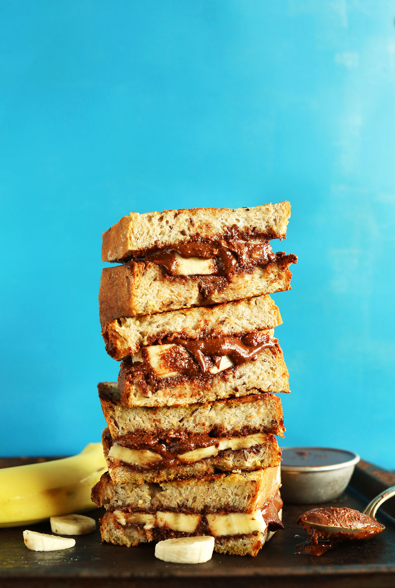 Stack of crispy vegan Grilled Banana Nutella Sandwiches