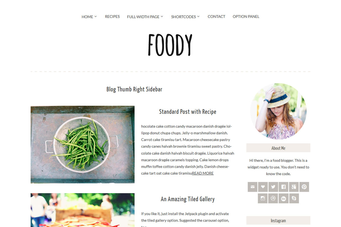 Foody Theme for a WordPress Food Blog