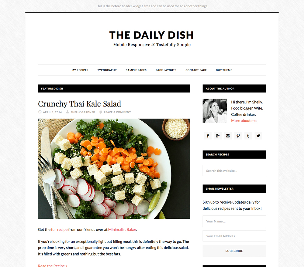 Daily Dish Theme for Food Blogs